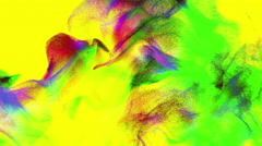 Abstract colorful powder on yellow background, 3D particles, looping - stock footage