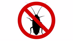 Cockroach pest in prohibited sign, CG animation Stock Footage