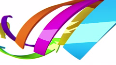 Colorful 3D arrows move on white background, CG animation, seamless loop Stock Footage