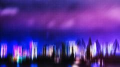 Horizontal vivid digital neon night city port abstraction Stock Photos