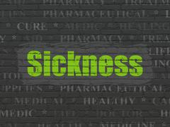 Health concept: Sickness on wall background - stock illustration