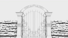 Entrance in white gates on white background, 3D animation Stock Footage