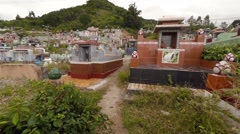 Crowded Buddhist cemetery on a hillside in Nha Trang, Vietnam Stock Footage