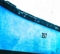 Horizontal vivid vintage fisherman boat detail closeup backgroun - stock photo