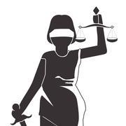 lady justice icon - stock illustration