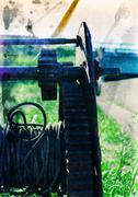 Vertical vintage industrial hardware background backdrop postcar - stock photo