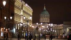 View of the Kazan Cathedral in St. Petersburg at night Stock Footage