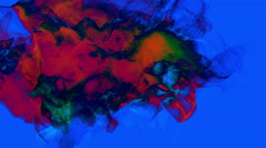 Red swirl of particles on blue, 3D, looping Stock Footage
