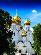 Vertical vibrant vivid Russian orthodox church temple background Kuvituskuvat