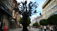 Ivano-Frankivsk, Ukraine, the forged happiness tree. Stock Footage