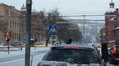 Railroad crossing in Sundsval, winter, Sweden Stock Footage