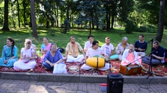 Krishnaites play and sing. Stock Footage