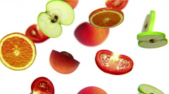 Sections of fruits falling on white background, alpha matte, CG Stock Footage