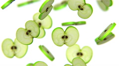 Sections of green apple falling on white background, alpha matte, CG Stock Footage