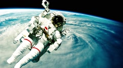 Astronaut in outer space Stock Footage