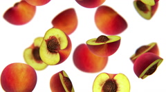 Sections of peach falling on white background, alpha matte, CG Stock Footage