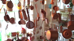Hanging Utensils and Appliances in the Interior Stock Footage