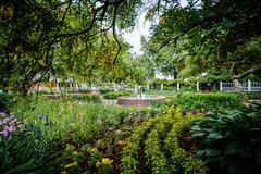 Gardens at Prescott Park, in Portsmouth, New Hampshire. Stock Photos