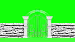 White gates open on green background, 3D animation Stock Footage