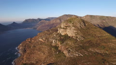 Chapmans Peak Orbital Mountain Aerial Sunset Shot Stock Footage