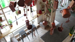Hanging Utensils and Appliances in the Interior - stock footage