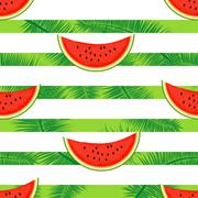Slices of watermelon on a striped background.Seamless illustration. - stock illustration