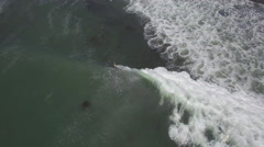 Aerial of Surfing From Above in Elands Bay Stock Footage