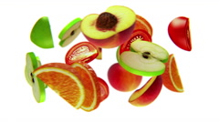 Fruit slices rotate on white background, bullet time, seamless loop, CG Stock Footage