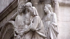 Venice St Marks cathedral. Sculptured relief on the exterior. Stock Footage