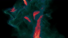Fiery stream of incandescent particles, 3D animation, looping - stock footage