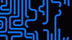 Maze of blue arrows on black background, seamless loop, CG animation Stock Footage