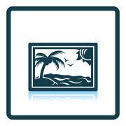 Landscape art icon - stock illustration