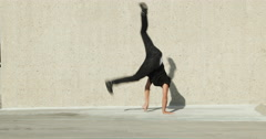 Young Man Break Dancing Outside Stock Footage