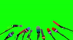 Set of microphones for press conference, seamless loop, 3D animated on green. Stock Footage