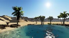 Oasis in the desert - cartoon effect - stock footage