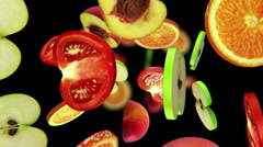 Sliced pieces of fruits fall into darkness, seamless loop, CG Stock Footage