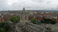 Aerial drone view of Christ Church in Dublin Stock Footage