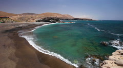 Ajuy beach on Fuerteventura, Spain. - stock footage