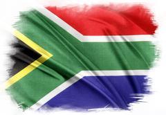 South Africa flag on plain background - stock illustration