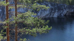 Landscape With Marble Quarry in Ruskeala Stock Footage