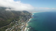 Aerial of Kalk Bay with Cloudy Blue Sky Stock Footage