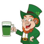 leprechaun character holding beer icon - stock illustration