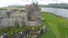 Aerial drone view of Duart Castle in Scotland Stock Footage