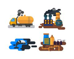 Ecological problems, environmental pollution vector - stock illustration