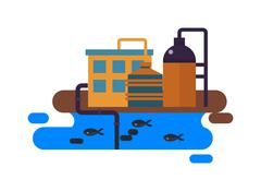 Ecological problems, environmental pollution vector Stock Illustration
