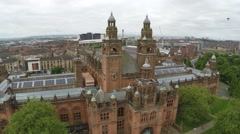 Aerial drone view of the Kelvingrove Art Museum in Glasgow Scotland Stock Footage