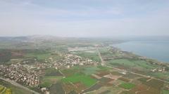 Sea of Galilee and Emek HaYarden bird view Stock Footage