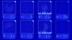 4k aviation radar GPS navigation,tech tracking system panel data scan analysis. Stock Footage