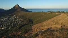 Aerial Signal Hill Fly Over at Sunrise with Lion's Head Stock Footage