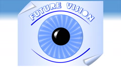 Future vision, video with animated eye, blue iris on  a sheet of paper Stock Footage